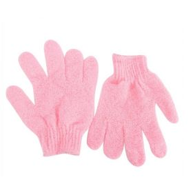 1 pair of Pink exfoliating hand gloves - beauty
