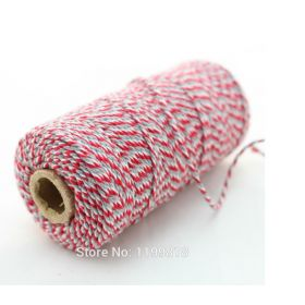 JEMPAK UK® 91.4M x 2mm thick 100% cotton bakers twine  - red & Grey