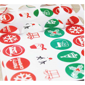 JEMPAK UK® 60 pieces Assorted Christmas Theme round sticky labels