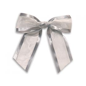 "1½"" Pre-Tied Organza Sheer Bows with satin edge - Silver (Pack of 12)"