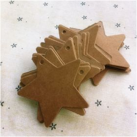 Pack of 25 blank brown Kraft star shaped gift tags (6cm x 6cm) for Packaging/Gift Wrapping/Card-making/General Decoration