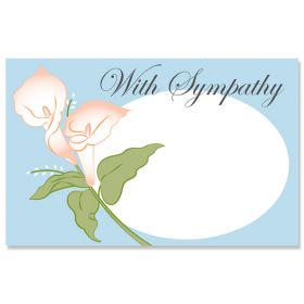 """Pack of 10 """"With Deepest Sympathy"""" Floral Lilies mini enclosure gift cards (9cm x 6cm)"""