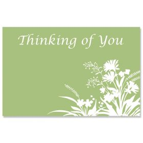 """Pack of 10 """"Thinking of You"""" Flowers mini enclosure gift cards (9cm x 6cm)"""