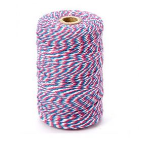 JEMPAK UK® 91.4M x 2mm thick 100% cotton bakers twine  - Union Flag colour