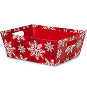 Set of 2 Red White Snowflakes Large Wide Base market trays (30cm long x 24cm wide x 11cm deep)