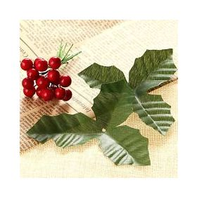 JEMPAK UK® Pack of 10 artificial Holly leaves & 20 red berries
