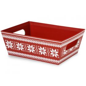 Set of 3 Nordic Snowflake market tray with wide base  (23cm length x 18cm width x 9cm deep)