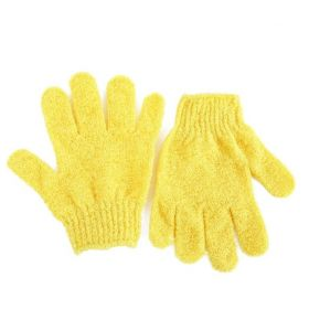1 pair of Yellow exfoliating hand gloves - beauty