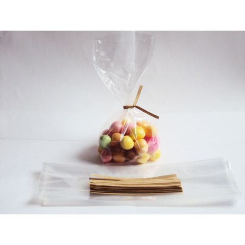 "JEMPAK UK Pack of 50 Small clear gusseted cellophane bags (3"" x 1¾"" x 8¼"" ) including 4"" Brown Kraft paper twist ties"