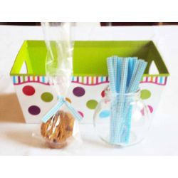 "JEMPAK UK Pack of 50 Small clear gusseted cellophane bags (3"" x 1¾"" x 8¼"") including 4"" Baby Blue gingham twist ties"