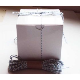 JEMPAK UK Pack of 10 white high Gloss Gift/favour boxes with hinged lid (10cm x 10cm x 10cm) with 10M Baker's twine - BABY BLUE