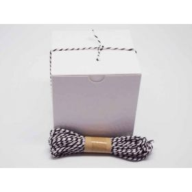 JEMPAK UK Pack of 10 white high Gloss Gift/favour boxes with hinged lid (10cm x 10cm x 10cm) with 10M Baker's twine -BLACK