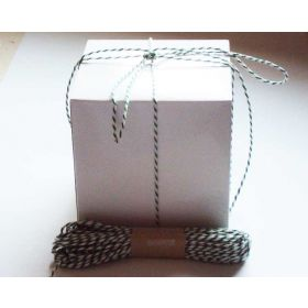 JEMPAK UK Pack of 10 white high Gloss Gift/favour boxes with hinged lid (10cm x 10cm x 10cm) with 10M Baker's twine -GREEN