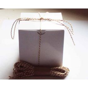 JEMPAK UK Pack of 10 white high Gloss Gift/favour boxes with hinged lid (10cm x 10cm x 10cm) with 10M Baker's twine -YELLOW