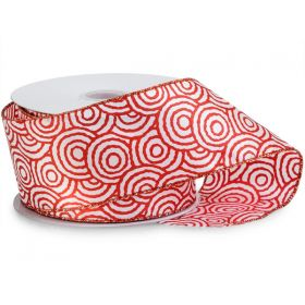64mm Red Swirls wired edge Satin Ribbon  - (23M roll)