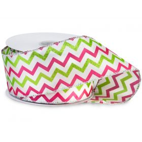 64mm Pink & lime chevron wired edge Satin Ribbon  - (23M roll)