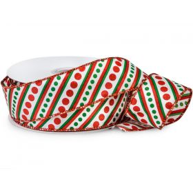 JEMPAK UK® 3M x 38mm CUT length Xmas Candy Stripes Wired Satin ribbon