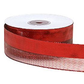 38mm red wired edge metallic mesh stripe ribbon (23M roll)