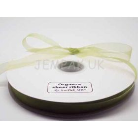 5M x 15mm Organza sheer ribbon - Apple green