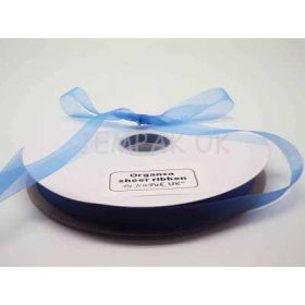 5M x 15mm organza sheer ribbon - Brilliant blue