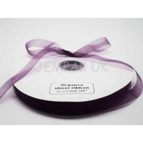 5M x 15mm Organza sheer ribbon - Purple