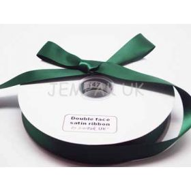 5M x 25mm Double face satin ribbon - Forest green