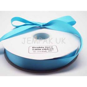 5M x 25mm Double face satin ribbon - Misty Turquoise