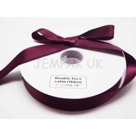 5M x 25mm Double face satin ribbon -Wine
