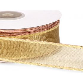 25mm Gold wired edge metallic ribbon - Gold (23M roll)
