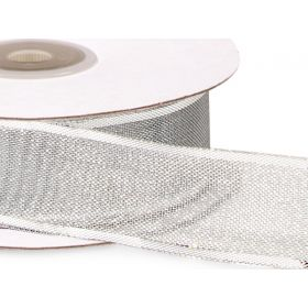 3M x 25mm silver wired edge metallic ribbon - Silver