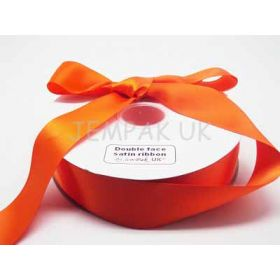 5M x 38mm Double face satin ribbon - Russet orange