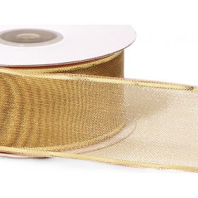 3M x 38mm Gold wired edge metallic ribbon - gold