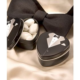 Pack of 10 Tuxedo favour tin