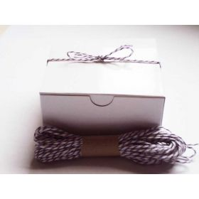 JEMPAK UK Pack of 10 white high Gloss Gift/favour boxes with hinged lid (10cm x 10cm x 5cm) with 10M Baker's twine -PURPLE