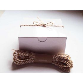Pack of 10 white high Gloss Gift/favour boxes with hinged lid (10cm x 10cm x 5cm) with 10M Baker's twine -YELLOW