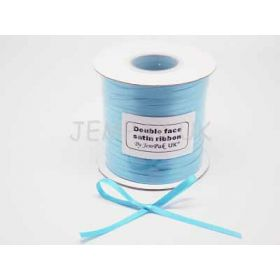 5M x 5mm Double face satin ribbon - Misty Turquoise