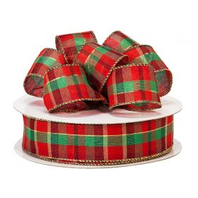 3M x 38mm Santa Plaid Gold Wired edge Ribbon - Red & Green for gift packaging and xmas decoration