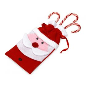 Pack of 2 Santa felt bag with satin drawstring cord (11cm x 22cm)