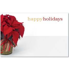 "Pack of 10 ""Happy Holidays"" Poinsettia mini enclosure gift cards (9cm x 6cm)"
