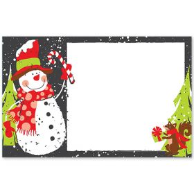 Pack of 10 Chalkboard Snowman mini enclosure gift cards (9cm x 6cm)