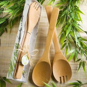 Natural selections bamboo salad set in a clear top box with ribbon and gift tag  (Pack of 10)