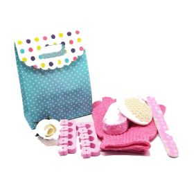 5 piece beauty set in a polka dot tab top box gift bag (exfoliating gloves, pumice stone, emery board, toe seperator & facial sisal pad)