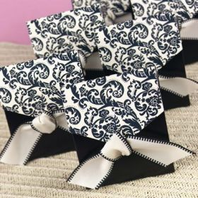 Ivory & black flourish wedding favour box with matching  satin ribbon (75mm x 35mm x 85mm)
