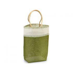 Green leaf Burlap/Hessian tote bag/gift bag with chocolate stitch and jute cord handle