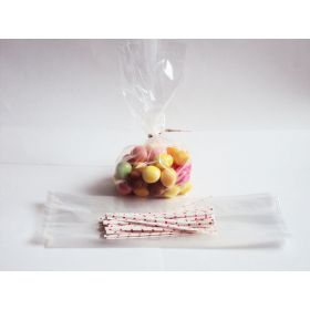 "JEMPAK UK Pack of 50 Small clear gusseted cellophane bags (3"" x 1¾"" x 8¼"") including 4"" love/valentine paper twist ties"