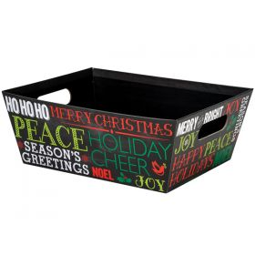 Set of 2 Holiday Greetings Chalkboard Large Wide Base Market Trays (30cm long x 24cm wide x 11cm deep)
