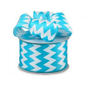 3M x 64mm CUT length Chevron pattern wired edge Satin ribbon  - Turquoise Blue