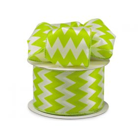 3M x 64mm CUT length Chevron pattern wired edge Satin ribbon  - Apple Green