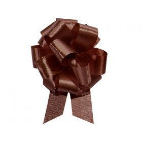 22mm embossed pull bow (Pack of 10) - Chocolate Brown