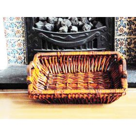 Rectangular willow wicker tray with side wooden handles